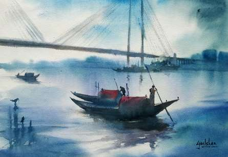 Seascape Watercolor Art Painting title 'Misty Morning' by artist Gulshan Achari