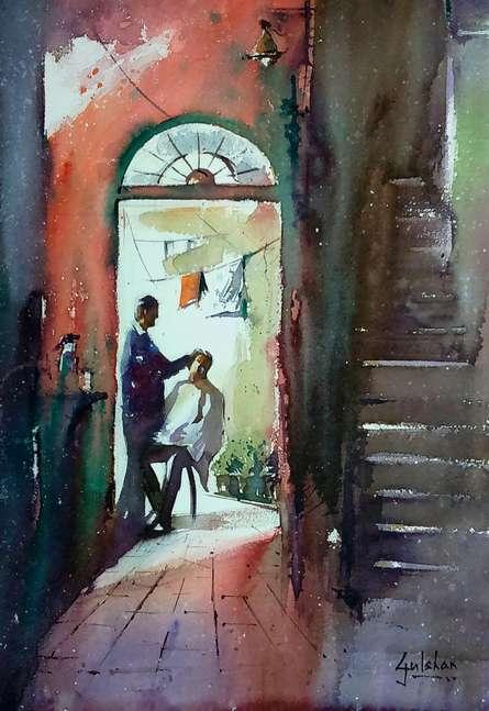 Nostalgia Water | Painting by artist Gulshan Achari | watercolor | Paper