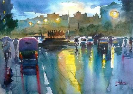 Rainspirations 2 | Painting by artist Gulshan Achari | watercolor | Paper