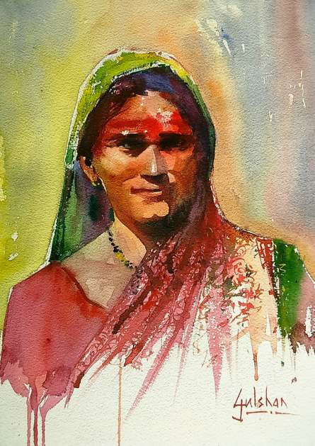 Figurative Watercolor Art Painting title 'Rangu Watercolour' by artist Gulshan Achari