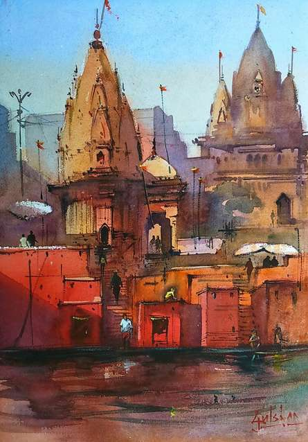 Scenic Watercolor Art Painting title 'Red Is Holy' by artist Gulshan Achari