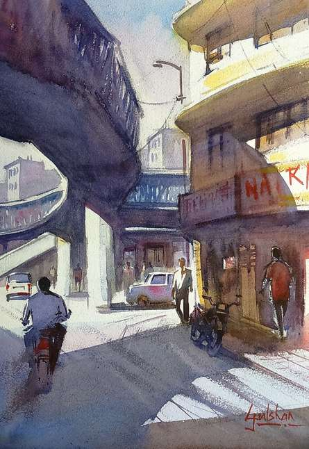 Gulshan Achari | Watercolor Painting title Shad w ow on Paper | Artist Gulshan Achari Gallery | ArtZolo.com