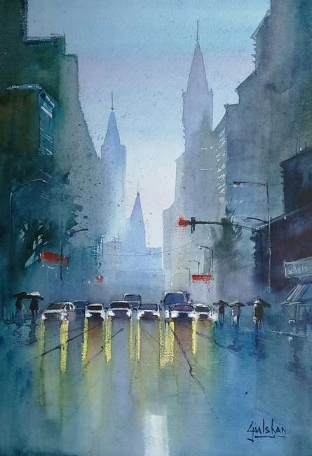 Cityscape Watercolor Art Painting title 'The Confusing Red Light' by artist Gulshan Achari