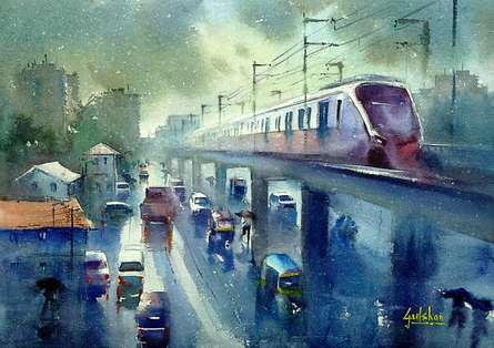 Cityscape Watercolor Art Painting title The Flying Metro by artist Gulshan Achari
