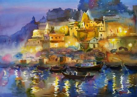 Scenic Watercolor Art Painting title The Glowing Banaras by artist Gulshan Achari