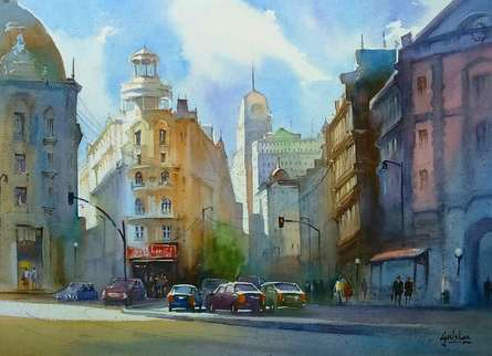 Cityscape Watercolor Art Painting title The Glowing Drapery by artist Gulshan Achari