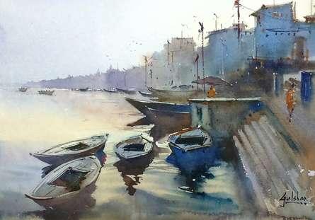 The Morning Glow At Varanasi | Painting by artist Gulshan Achari | watercolor | Paper