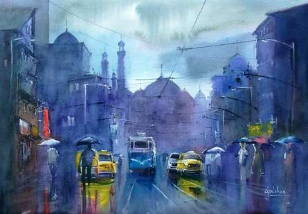 Cityscape Watercolor Art Painting title The Purple Patch by artist Gulshan Achari