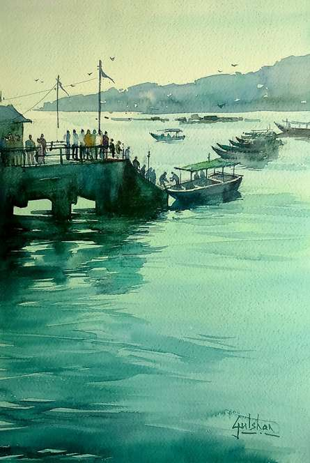 The Viridian Effect   Painting by artist Gulshan Achari   watercolor   Paper