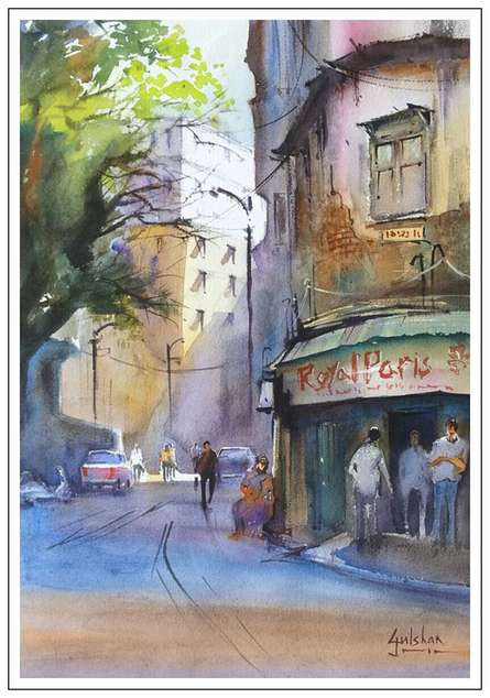 Cityscape Watercolor Art Painting title 'Corner Discussions' by artist Gulshan Achari