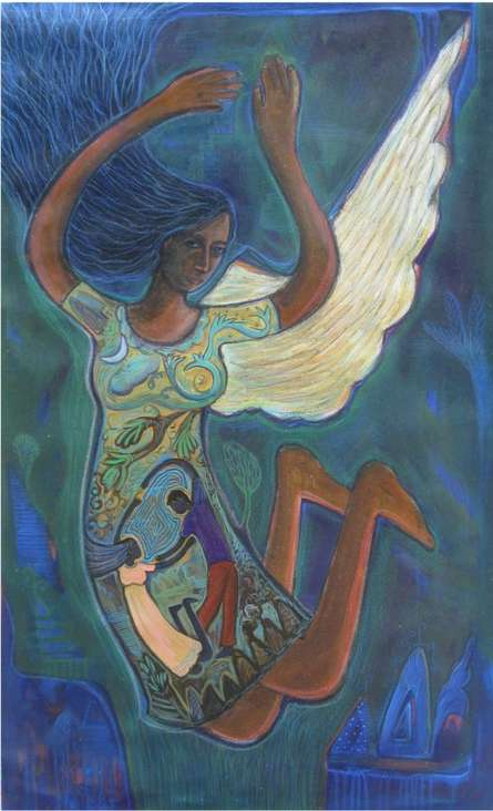 Mixed Media Painting titled 'Flying Angel I' by artist Arpita Chandra on Canvas