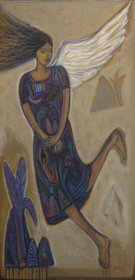 Arpita Chandra | Flying Angel Ii Mixed media by artist Arpita Chandra on Canvas | ArtZolo.com