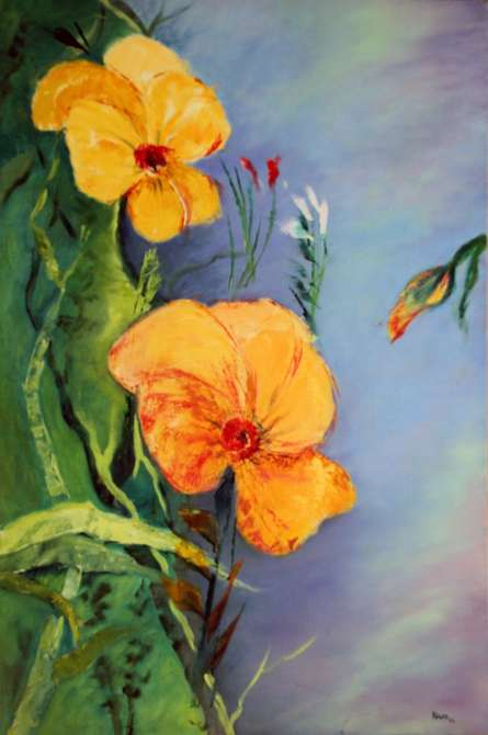 Nature Oil Art Painting title 'Yellow Flowers' by artist Krupa Shah