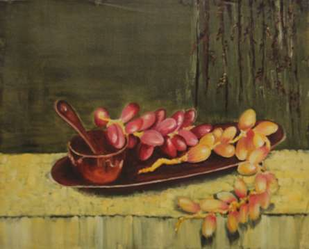 Dates on the tray | Painting by artist Krupa Shah | oil | Canvas
