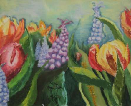 Flowers in Wild | Painting by artist Krupa Shah | oil | Canvas