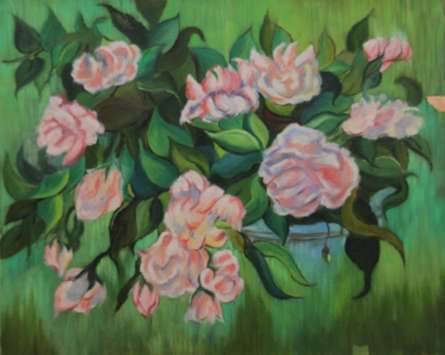 Nature Oil Art Painting title Roses by artist Krupa Shah