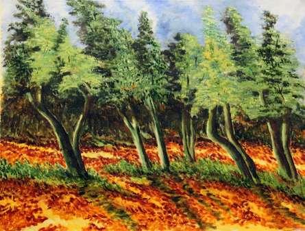 Impressionist Oil Art Painting title Woods III by artist Krupa Shah