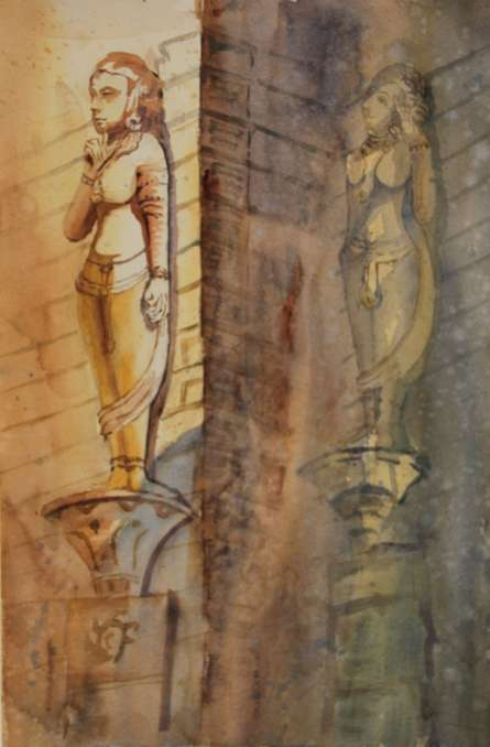 Krupa Shah | Watercolor Painting title Sculptures at Hathisingh on Paper | Artist Krupa Shah Gallery | ArtZolo.com