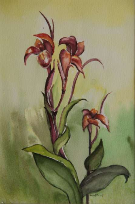 Nature Watercolor Art Painting title Kena Flower by artist Krupa Shah