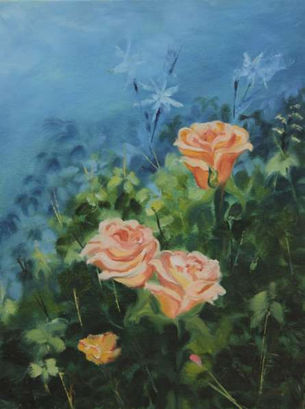 Krupa Shah | Oil Painting title Roses on Canvas | Artist Krupa Shah Gallery | ArtZolo.com
