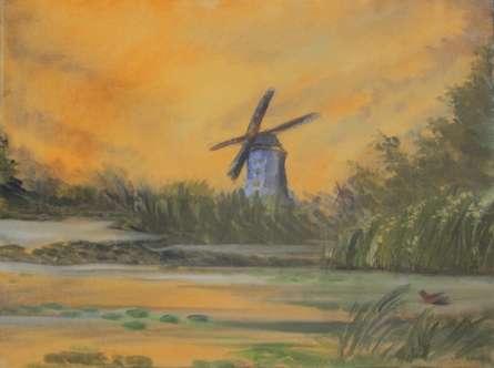Landscape Oil Art Painting title Windmill by artist Krupa Shah