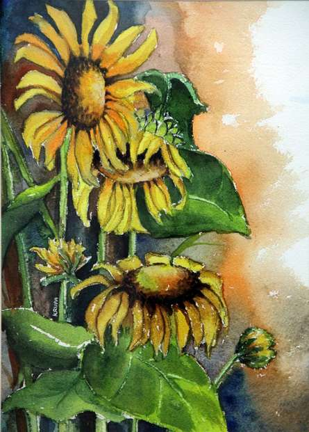 Sun Flower I | Painting by artist Krupa Shah | watercolor | paper