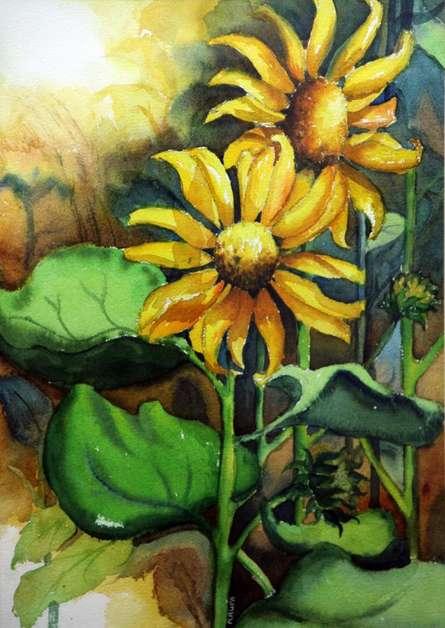 Sun Flower II | Painting by artist Krupa Shah | watercolor | Paper