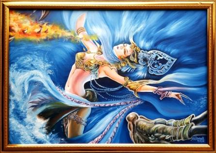 Fantasy girl   Painting by artist Nihar Debnath   Oil   Canvas