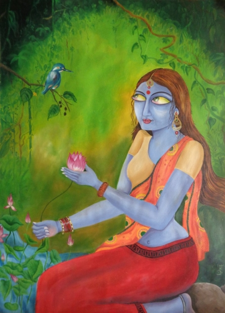 Green dreams | Painting by artist Dr.Lisha N T | Oil | Paper