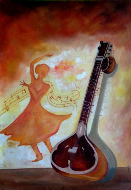 Strings | Painting by artist Dr.Lisha N T | Oil | Paper