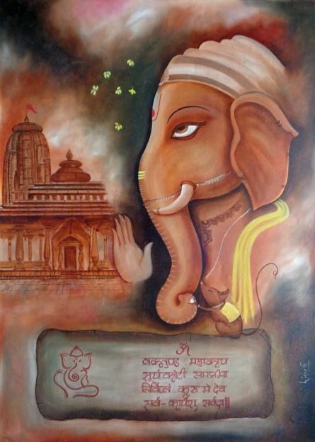 Ganesha | Painting by artist Dr.Lisha N T | Oil | Paper