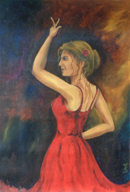 The dancer | Painting by artist Dr.Lisha N T | Oil | Paper