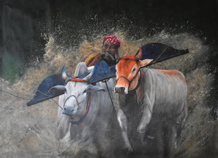 Realistic Acrylic Art Painting title Bull race by artist Lisha N T