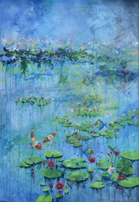 Abstract Acrylic Art Painting title Lotus pond by artist Lisha N T