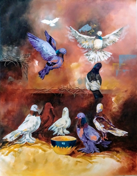 Animals Acrylic Art Painting title Doves by artist Lisha N T