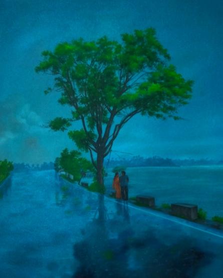 Landscape Acrylic Art Painting title Saavan by artist Lisha N T