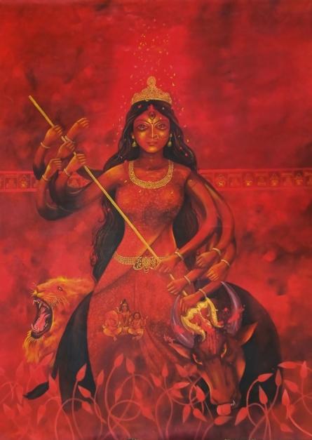 Religious Acrylic Art Painting title Mahishasuramardhini-durga by artist Lisha N T