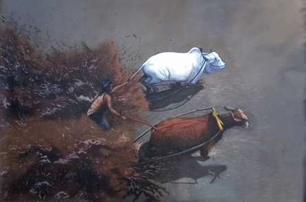 Animals Acrylic Art Painting title Bull race by artist Lisha N T
