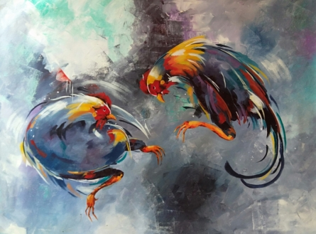Animals Acrylic Art Painting title Rooster Brawl by artist Lisha N T