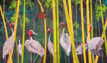 Animals Acrylic Art Painting title Song Of The Sarus by artist Lisha N T