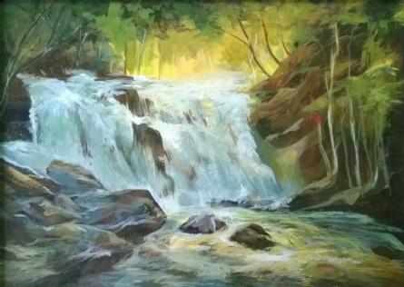 Waterfall 1 | Painting by artist Sharmishtha Sinha | acrylic | Canvas