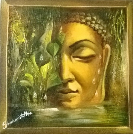 Buddha Beside Nature | Painting by artist Sharmishtha Sinha | acrylic | Canvas