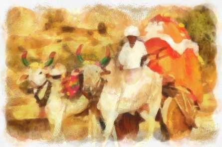 India Nimaj Cattle-cart | Digital_art by artist Pushpendu Dutta | Art print on Canvas