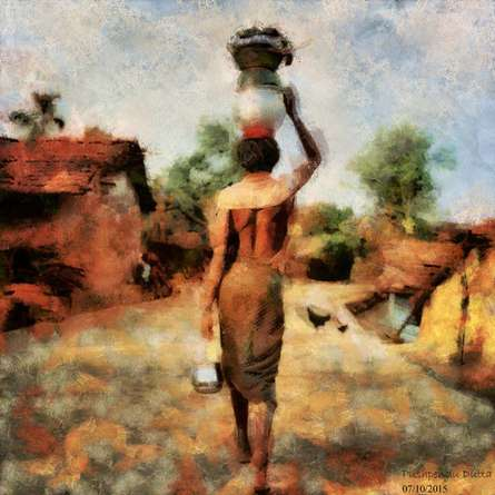 Indian Villagers | Digital_art by artist Pushpendu Dutta | Art print on Canvas