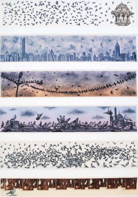 Mumbai Pigeon | Drawing by artist Sandeep Suneriya |  | etching | Paper