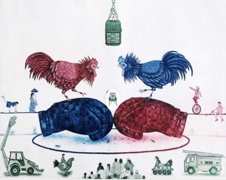 Animals Etching Art Drawing title 'Politics Circus' by artist Sandeep Suneriya