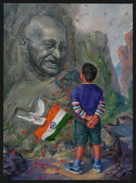 Figurative Oil Art Painting title 'A Young Patriot' by artist Mahesh RC