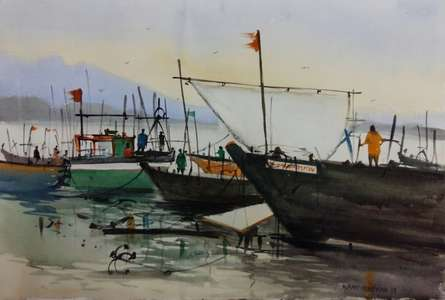 Landscape Watercolor Art Painting title 'Boats' by artist Kiran Gunjkar