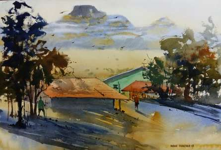 Landscape Watercolor Art Painting title 'Morning Light' by artist Kiran Gunjkar