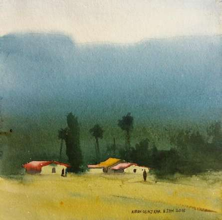 Landscape Watercolor Art Painting title 'Village Under Mountains' by artist Kiran Gunjkar